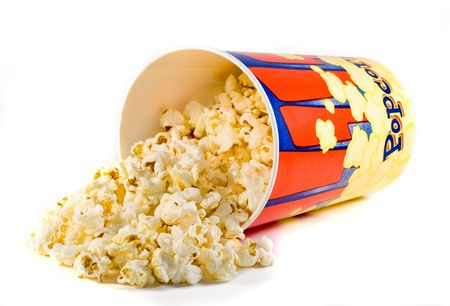 fresh popcorn in container  Stock Photo
