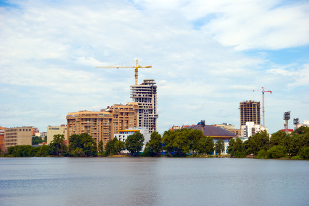 city landscape with construction cranes Stock Photo - 1406484