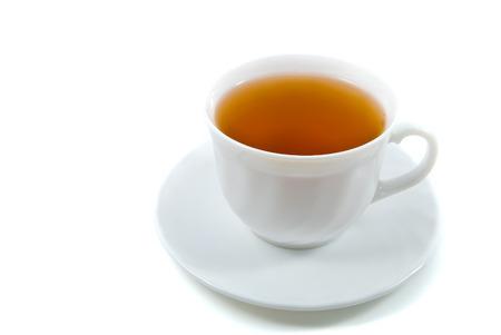 dop van thee geïsoleerd over wit Stockfoto