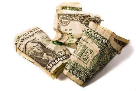 recoger: Una Dollar - variaciones de dólar arrugado  Foto de archivo