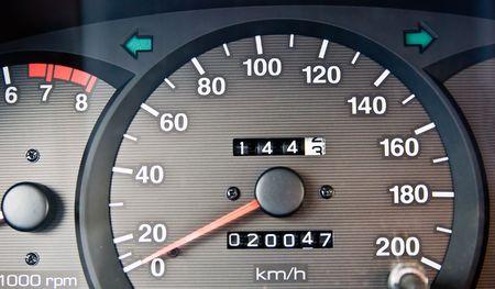 kilometres: An automobile odometer