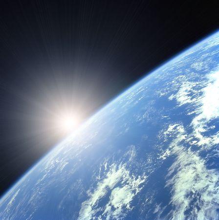 Earth with Rising Sun illustration background Stock Illustration - 2547974