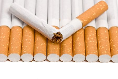 broken cigarette stop smiking concept with copy space photo
