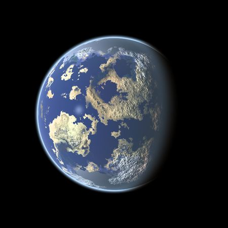 Computer generated Earth-like planet on black background Stock Photo - 2637792