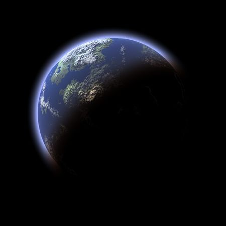 earthlike: Computer generated Earth-like planet  on black background