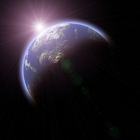 earthlike: Computer generated Earth-like planet and Sun on black background