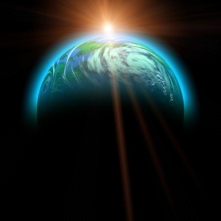 rising sun and planet illustration isolated on black Stock Illustration - 3304826