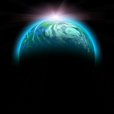 zonsopkomst en planeet illustratie geïsoleerd op zwart Stockfoto