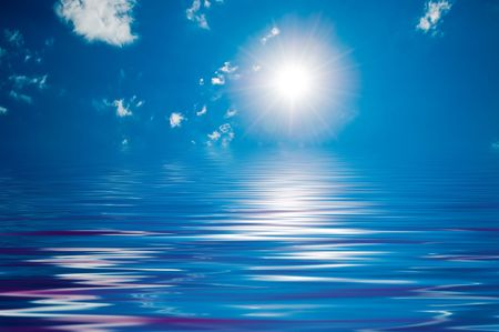 Blue sunny sky with white clouds Stock Photo - 3385942
