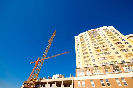 construction crane and building at blue sky Stock Photo - 3386055
