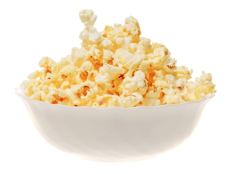 popcorn isolated over white background photo