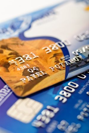 Close-up of silver digits and chip on a credit card shallow depth of focus photo
