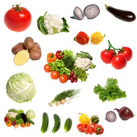 Grote groep van groenten geïsoleerd op de witte achtergrond Stockfoto
