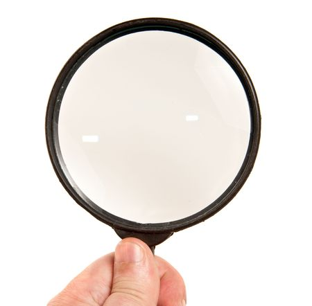 investigators: Magnifying glass in hand isolated on white background