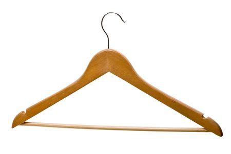 wooden coat hanger isolated on white background photo