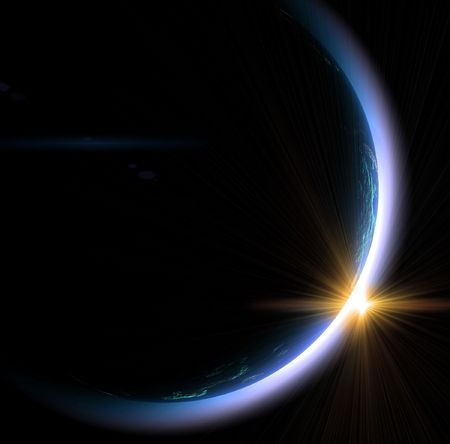 The sunrise in space on a black background Stock Photo