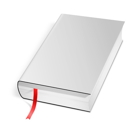 hard cover: Book with blank hard cover over white  Stock Photo
