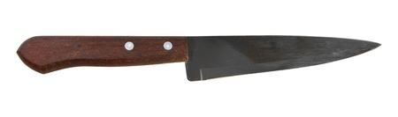 hone: Carving steel knife isolated on white