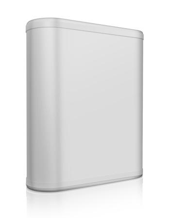 ebox: 3d scatola rotonda grigio su bianco Archivio Fotografico