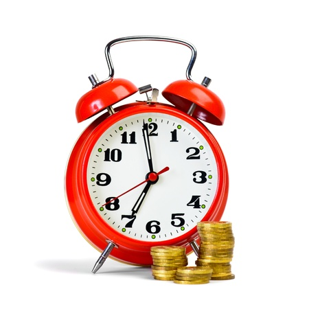 get up: Retro style alarm clock at get up time and yellow coins arranged at columns