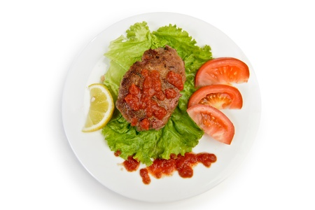 work path: Rissole cutlet  meatball at plate isolated with work path Stock Photo