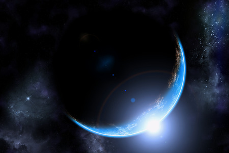 outer: Planet earth illustration and sunrise in space with lens flare