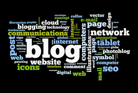 podcasts: Blog concept word cloud image Stock Photo