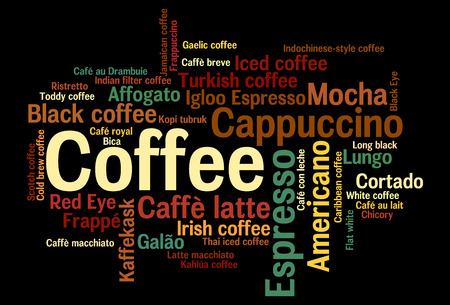 kinds: Word cloud infographics 44 kinds of coffee drink