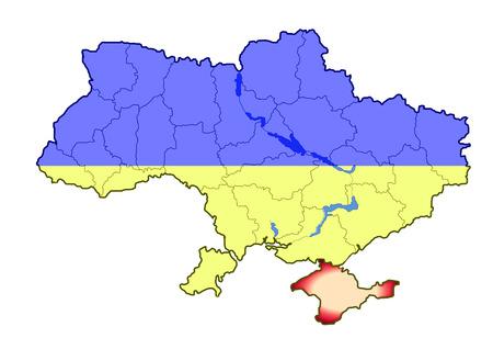 crimea: Ukraine map with Crimea peninsula occupation
