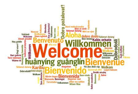 bienvenida: Frase de bienvenida en 78 idiomas diferentes. Nube de palabras concepto
