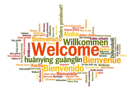 sign language: Welcome phrase in 78 different languages. Words cloud concept Stock Photo