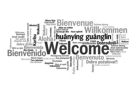 bienvenidos: Frase de bienvenida en 78 idiomas diferentes. Nube de palabras concepto