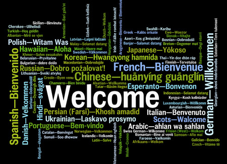 Welcome phrase in different languages. Words cloud concept photo