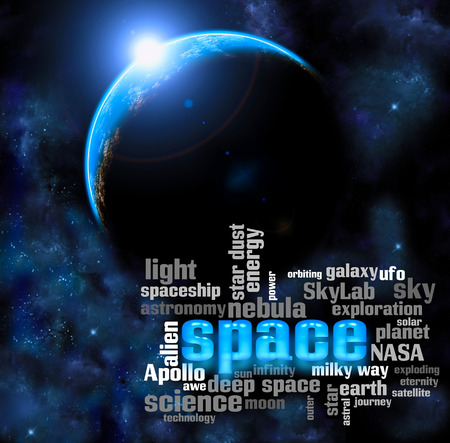 apollo: Space exploration concept planet universe illustration word cloud Stock Photo