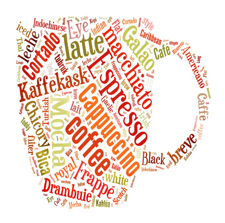 cortado: Coffee, espresso, cappuccino, macchiato, Word cloud, tag cloud text business concept