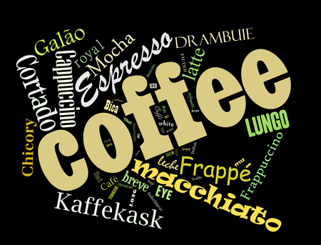 Coffee, espresso, cappuccino, macchiato, Word cloud, tag cloud text business concept. Word collage Stock Photo