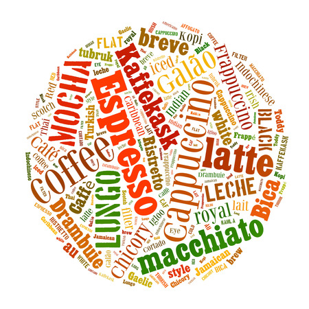 cortado: Coffee, espresso, cappuccino, macchiato, Word cloud, tag cloud text business concept. Word collage Stock Photo