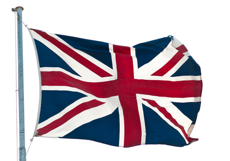 union jack: british  flag  Union Jack flying  against white Stock Photo
