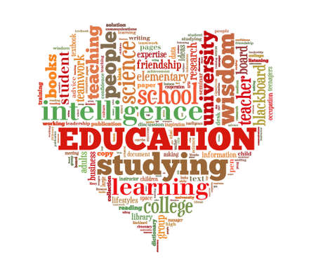Education word cloud heart shape concept image