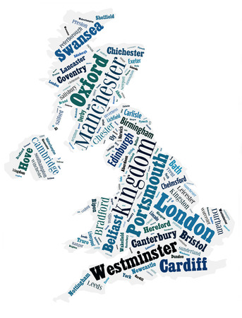 abstract map of United Kingdom word cloud photo