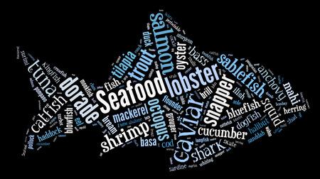 Seafood word cloud in shape o fish on black photo