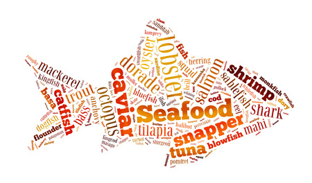 Seafood word cloud in shape o fish onwhite photo