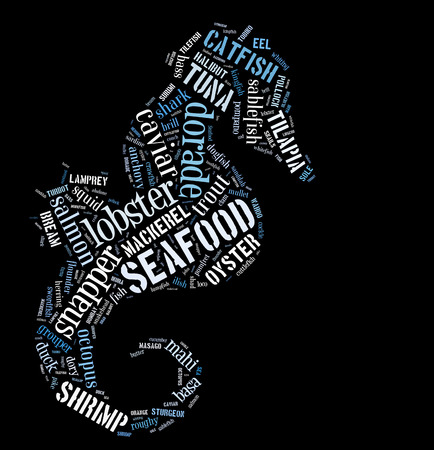 Seafood word cloud in shape of prawn photo