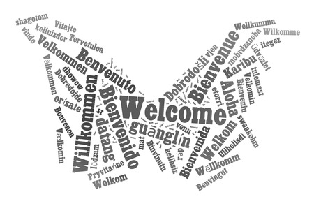 multilingual: Welcome phrase in 78 different languages. Words cloud concept Stock Photo
