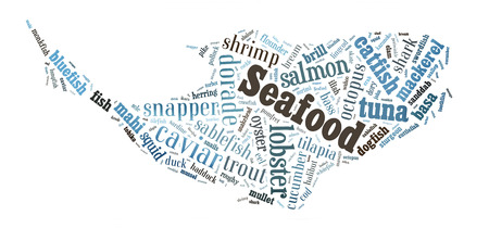 Seafood word cloud in shape of whale photo