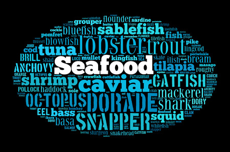 Seafood word cloud on black photo