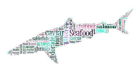 Seafood word cloud in shape of shark photo