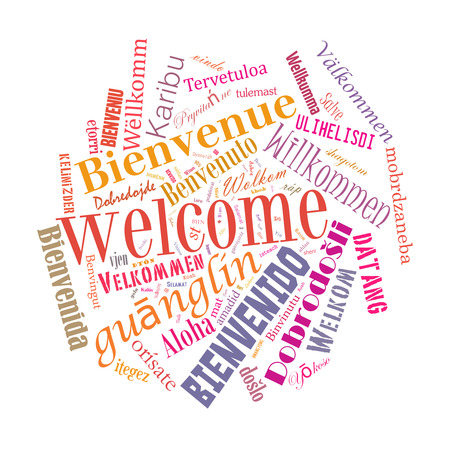 78: Welcome phrase in 78 different languages. Words cloud concept Stock Photo