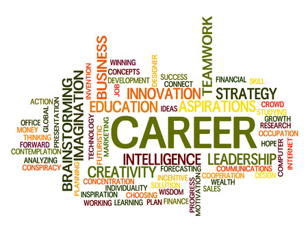Career related words concept in word tag cloud Vector