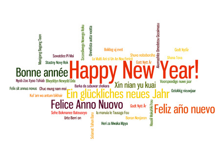 worldwide wish: Happy New Year in different language. Words cloud